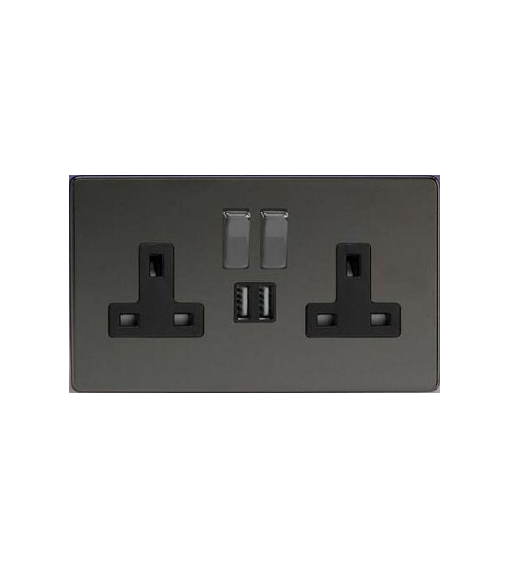 5 x black nickel double socket usb 13a 2 gang electric wall plug socket 5 pk