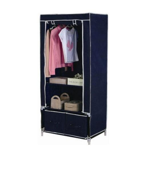 double canvas wardrobe hanging clothes rail 2 x drawer storage shelve blue laptronix