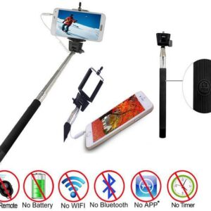 Suit Monopod Selfie Photo Stick Telescopic Wired Remote Mobile Phone Holder