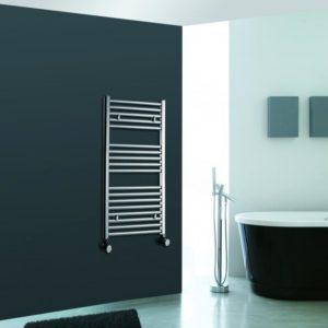 Straight Chrome Heated Bathroom Towel Rail Rad Designer Flat Radiator 1000 X 400