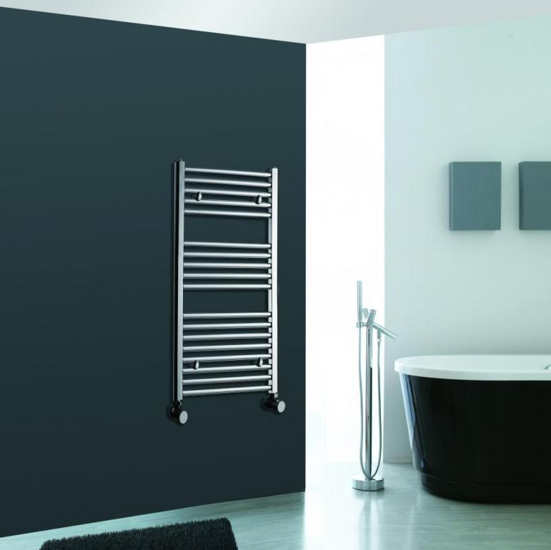 straight chrome heated bathroom towel rail rad designer flat radiator 1000 x 400 laptronix - Designer Heated Towel Rails For Bathrooms
