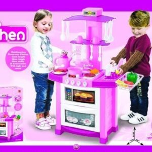 Childrens Portable Play Kitchen In Pink