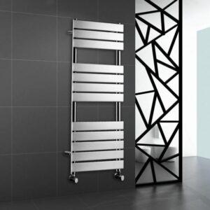 Chrome Heated Bathroom Towel Rail Rad Designer Flat Panel Radiator 1200 X 450