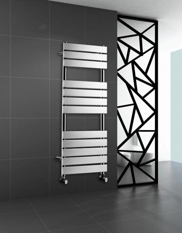 Chrome Heated Bathroom Towel Rail Rad Designer Flat Panel