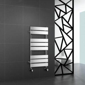 Chrome Heated Bathroom Towel Rail Rad Designer Flat Panel Radiator 800 X 450