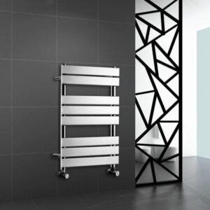 Chrome Heated Bathroom Towel Rail Rad Designer Flat Panel Radiator 800 X 600