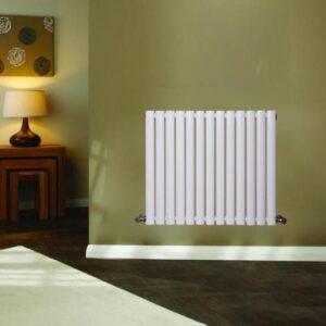 Modern Horizontal Designer Oval Column Radiator Bathroom Central Heating White 1