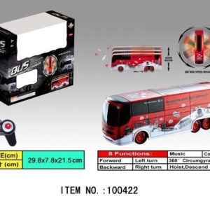 5-Channel 8-Functions Rotating Remote Control Red Bus Flashing Lights Music
