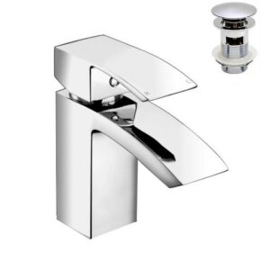 Bathroom Sink Basin Mono Mixer Square Tap Chrome Solid Brass Single Lever A