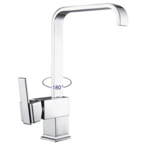Modern Chrome Kitchen Mixer Tap Swivel Spout Single Lever Faucet Square Shape
