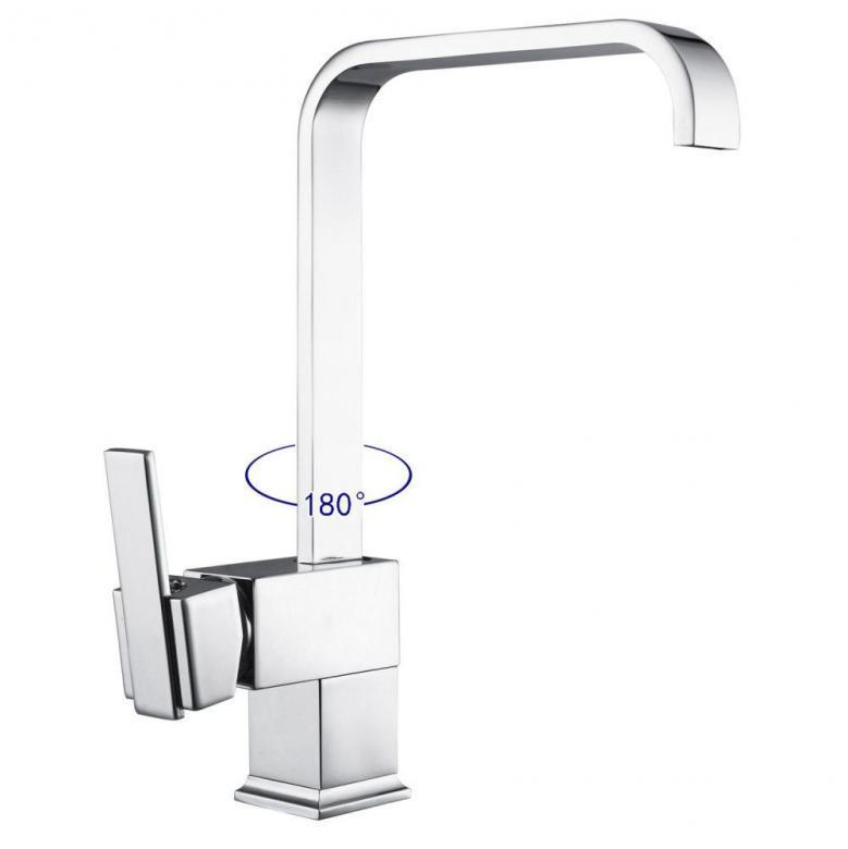 Modern Chrome Kitchen Mixer Tap Swivel Spout Single Lever Faucet