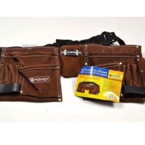 10 Pocket Double Split Suede Leather Tool Pouch Builders Bag Belt Storage Pouche