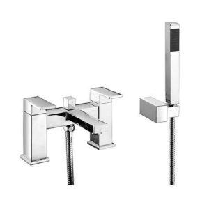 Modern Square Bath Filler Shower Mixer Bathroom Tap Chrome Solid Brass E