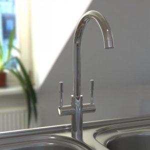 Modern Chrome Kitchen Sink Mixer Tap Swivel Spout Double Lever Faucet C