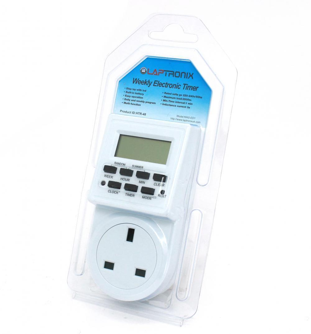 PROGRAMMABLE DIGITAL 24/7 TIMER MAINS ELECTRIC PLUG-IN SWITCH LCD ...