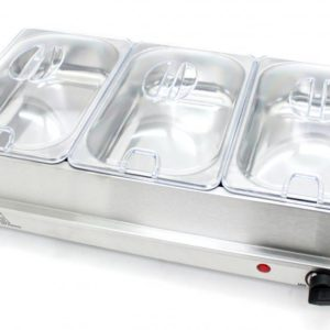 200W STAINLESS STEEL 3-PAN LARGE BUFFET FOOD SERVER & WARMER HOT PLATE 4.5L TRAY