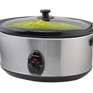 Premium Stainless Steel Slow Cooker 6.5L Pot Removable Ceramic Inner Bowl Steam