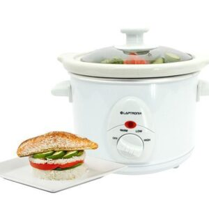Premium White Slow Cooker 1.5L Pot + Removable Ceramic Inner Bowl Steam Grill