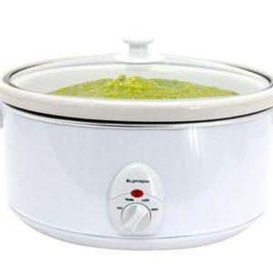 Premium White Slow Cooker 3.5L Pot + Removable Ceramic Inner Bowl Steam Grill