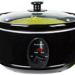 Premium Black Slow Cooker 3.5L Pot + Removable Ceramic Inner Bowl Steam Grill