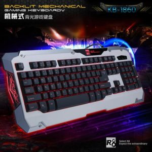 BLACK WHITE BACKLIT MULTIMEDIA ERGONOMIC GAMING MECHANICAL LED LIGHT KEYBOARD