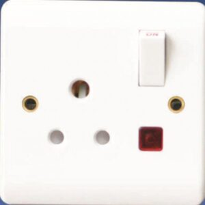 5A 1-Gang Round Pin Plug Wall Socket White