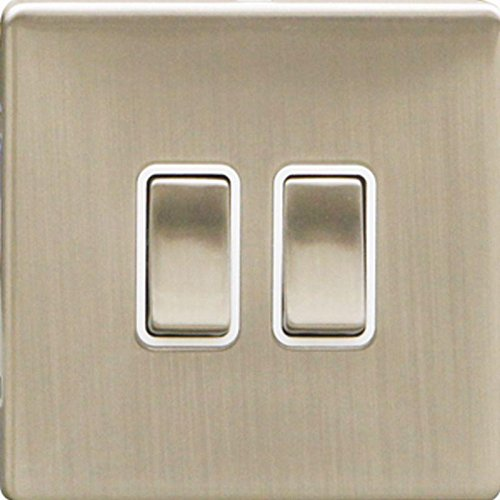 BRUSHED STEEL DOUBLE LIGHT SWITCH 2 GANG 2 WAY 10AX SLIM-LINE SCREW-LESS