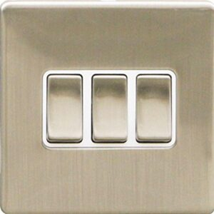 3 GANG 2 WAY 10 AMP SCREWLESS LIGHT SWITCH, BRUSHED STEEL TRIPLE SLIM-LINE