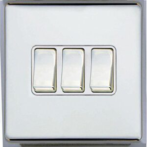 3 GANG 2 WAY 10 AMP SCREWLESS LIGHT SWITCH, POLISHED CHROME TRIPLE SLIM-LINE