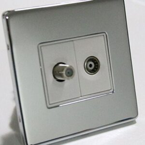 POLISHED CHROME 2-GANG AERIAL COAXIAL TV SATELLITE SKY SOCKET WALL FACE PLATE
