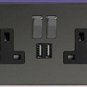 BLACK NICKEL DOUBLE SOCKET USB 13A 2 GANG ELECTRIC WALL PLUG SOCKET USB OUTLET