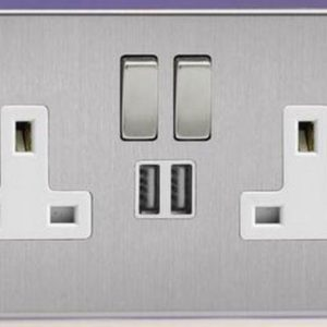 5 X BRUSHED STEEL DOUBLE SOCKET USB 13A 2 GANG ELECTRIC WALL PLUG SOCKET 5 PACK