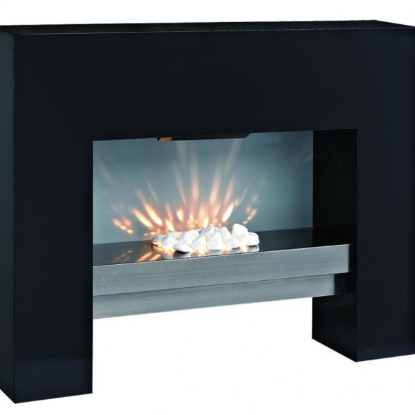 FREE STANDING MDF ELECTRIC FIREPLACE FIRE HEATER BLACK REMOTE CONTROL LED LIGHT