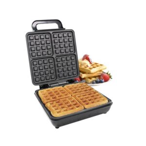LAPTRONIX 4 SLICE BELGIAN WAFFLE MAKER IRON MACHINE IN STAINLESS STEEL NON-STICK
