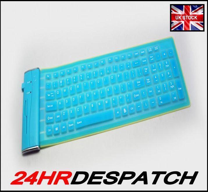 Turquoise Usb 180 Gram Flexible Silicone Keyboard Advent Laptop