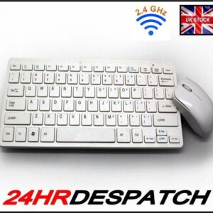 White Compact Usb Keyboard Mouse Wireless Combo