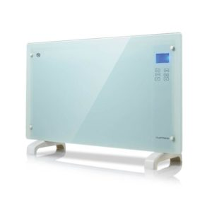 White Glass Panel Heater Free Standing/Wall Mounting With Touch Controls LCD Screen