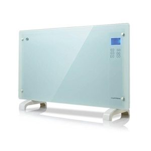 White 2000W Glass Panel Heater Free Standing/Wall Mounting With Touch Controls LCD Screen