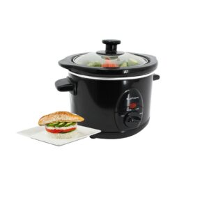 Premium Black Slow Cooker 1.5L Pot + Removable Ceramic Inner Bowl Steam Grill