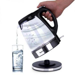 Electric Glass Kettle Blue LED Illuminated 1.7L 360° Cordless Portable Design