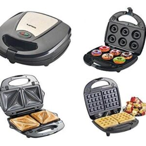 LAPTRONIX 3 IN 1 NON-STICK SANDWICH WAFFLE DOUGHNUT MAKER TOASTER PANINI GRILL