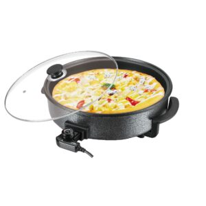 Laptronix Multi Cooker Paella Pizza Pot Electric Frying Pan Glass Lid 42cm 1500W